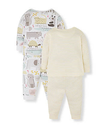 animal mummy and daddy pyjamas - 2 pack