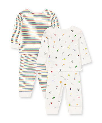alphabet and stripe pyjamas - 2 pack