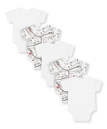 white little city car bodysuits - 5 pack