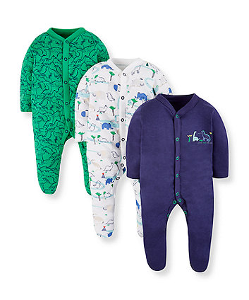 dinosaur friends sleepsuits - 3 pack