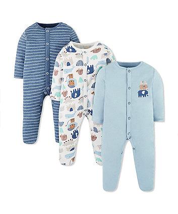 blue animal friends sleepsuits - 3 pack