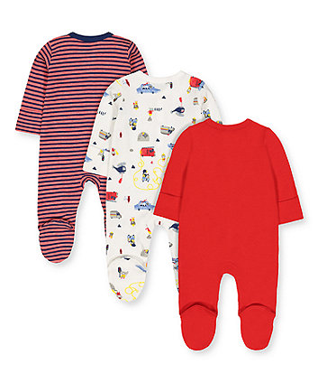 rescue animals sleepsuits - 3 pack