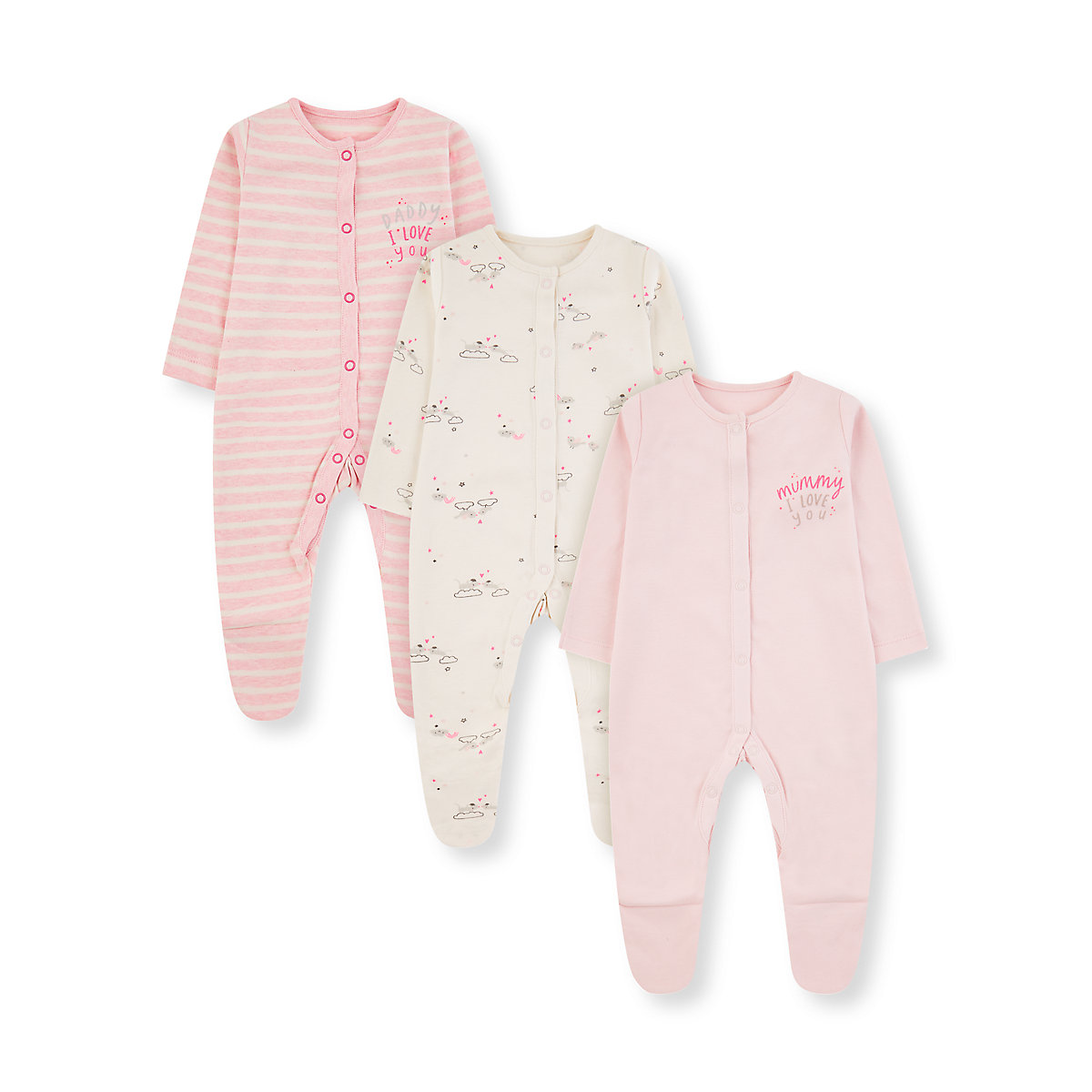 pink mummy and daddy mouse sleepsuits - 3 pack