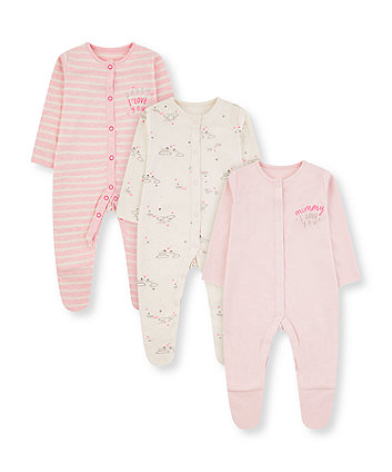 Pink Mummy And Daddy Mouse Sleepsuits   3 Pack by Mothercare