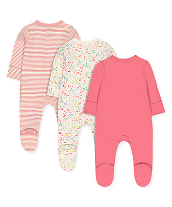 pink little friends sleepsuits - 3 pack