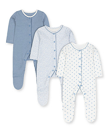 pretty blue sleepsuits - 3 pack