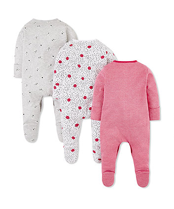 spotty puppy sleepsuits - 3 pack