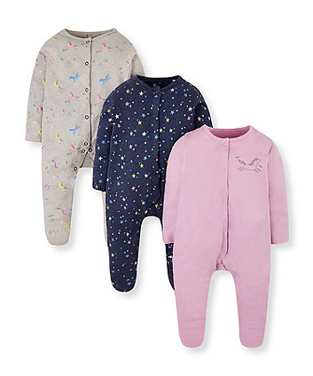 unicorn and star sleepsuits - 3 pack