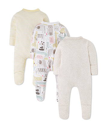 mummy and daddy animal sleepsuits - 3 pack