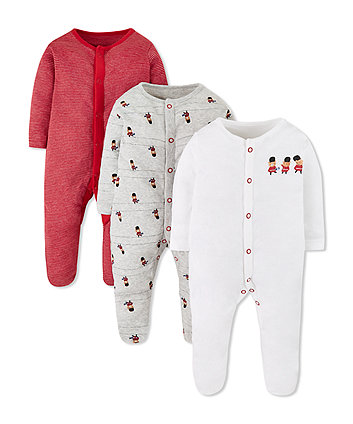 london bear guards sleepsuits - 3 pack