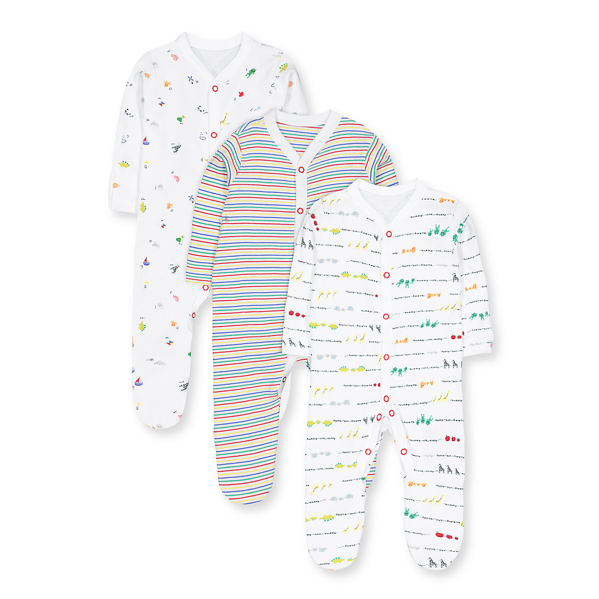 alphabet. animal and stripe sleepsuits - 3 pack