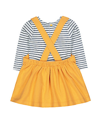 Disney minnie mouse yellow pinny dress and stripe bodysuit set