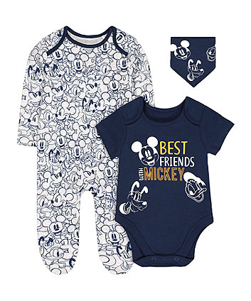 Disney mickey mouse bodysuit, all in one and bib set