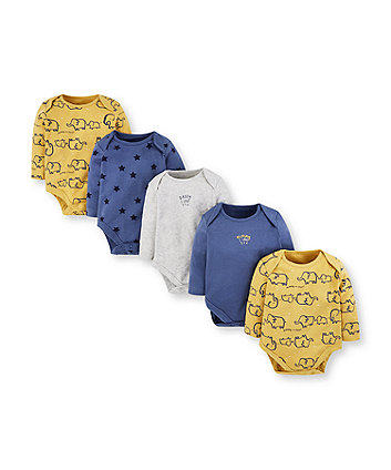 mummy and daddy elephant and star bodysuits - 5 pack