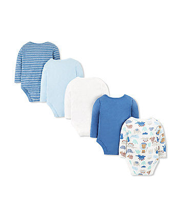 blue animal friends bodysuits - 5 pack