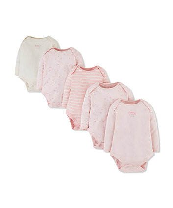 pink mummy and daddy bodysuits - 5 pack