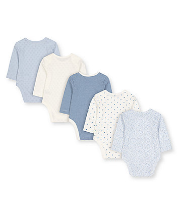 pretty blue and white bodysuits - 5 pack