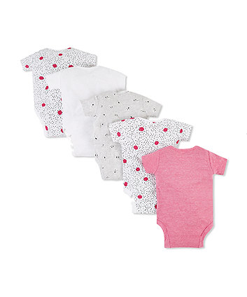 spotty puppy bodysuits - 5 pack