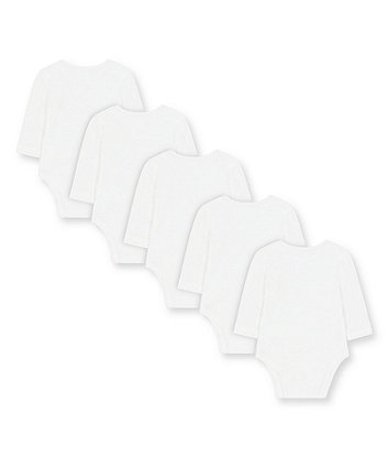 white alphabet bodysuits - 5 pack
