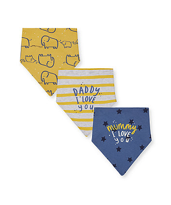 mummy and daddy elephant, star and stripe bibs - 3 pack