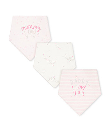 pink mummy and daddy bibs - 3 pack