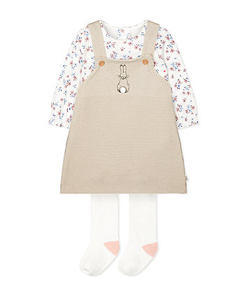 peter rabbit knitted pinny, bodysuit and tights set