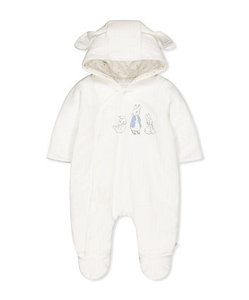 peter rabbit velour pramsuit