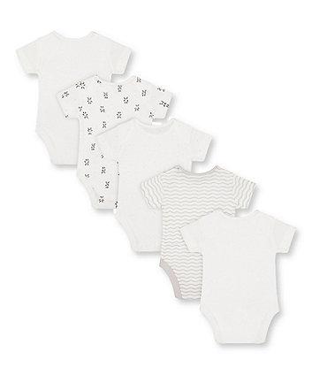 panda bodysuits - 5 pack