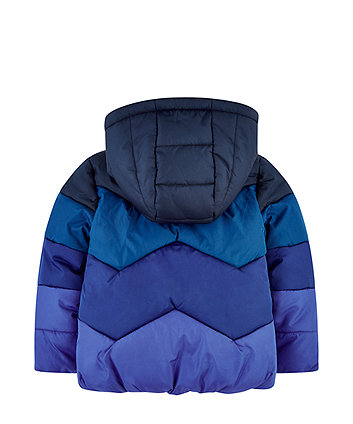blue padded jacket