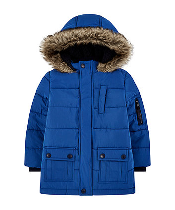 blue padded coat