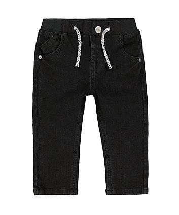 black rib waist jeans
