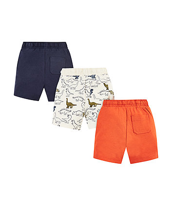 navy, orange and dinosaur shorts - 3 pack