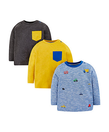 yellow, grey and blue vehicle t-shirts - 3 pack