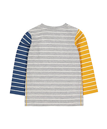 grey stripe suede t-shirt