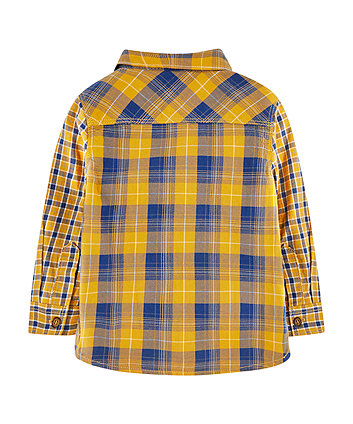 yellow check shirt and awesome t-shirt set