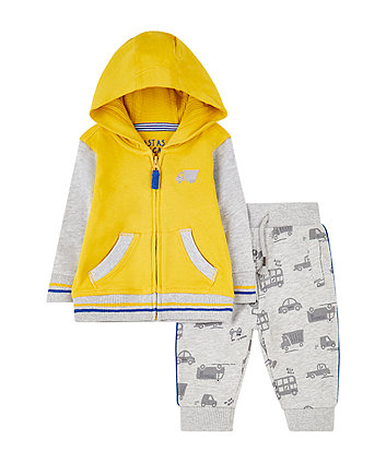 vehicle zip-through hoodie and joggers set