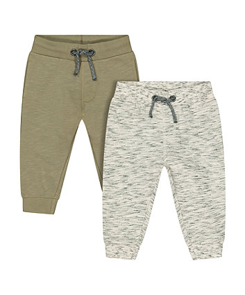 oat and khaki joggers - 2 pack