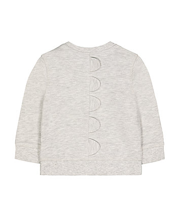 grey sequin roar dinosaur spike sweat top