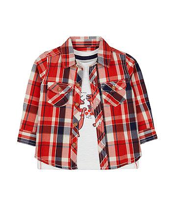 orange check shirt and roar love you dinosaur t-shirt set