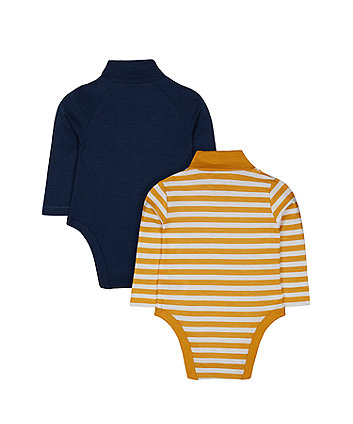 navy and stripe adventure moose roll-neck bodysuits - 2 pack