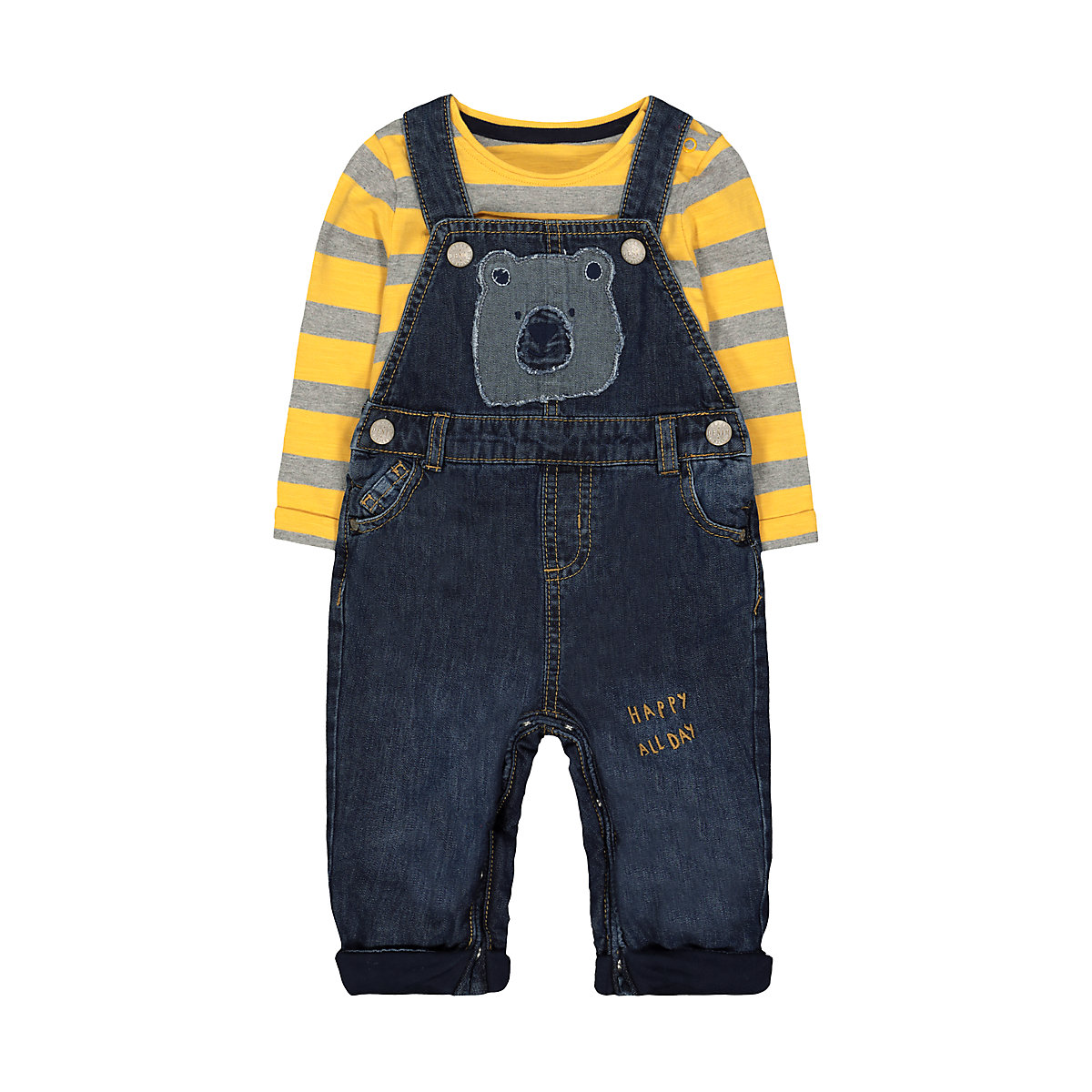 bear dungarees and stripe t-shirt set