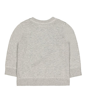 grey striped knitted jumper