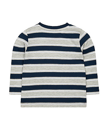navy and grey stripe t-shirt
