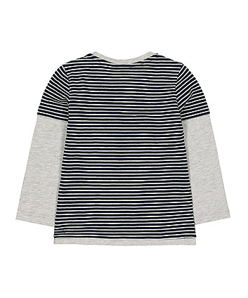 navy mock sleeve t-shirt