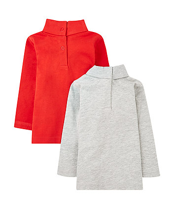 red and grey roll-neck tops - 2 pack