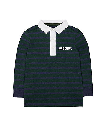 dark green striped rugby top