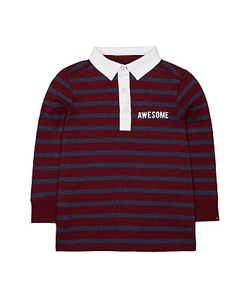 burgundy striped rugby top