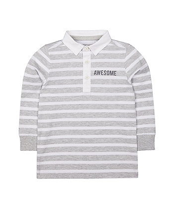 grey striped rugby top