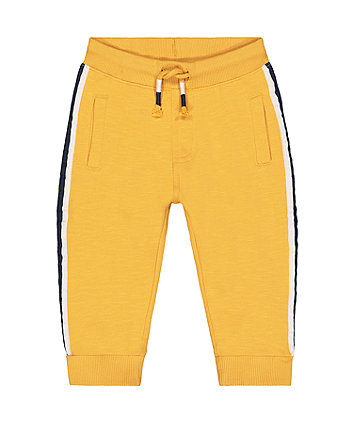 yellow side stripe joggers