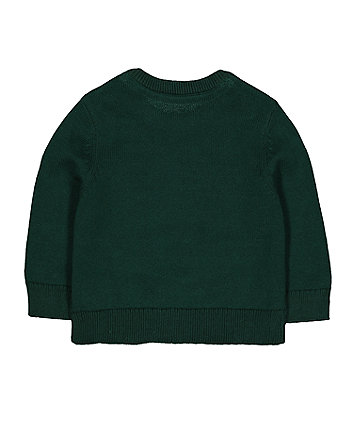 green dinosaur knitted jumper